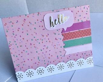 Greeting card, Hello Card, Pink card