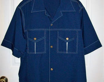 Vintage 1970s Mens Blue Wide Collar Snap Front Shirt by John Weitz Large Only 24 USD