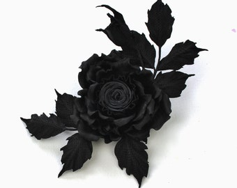 Black leather rose corsage, black leather brooch, black leather jewelry, black leather rose flower, rose brooch, leather gift for her