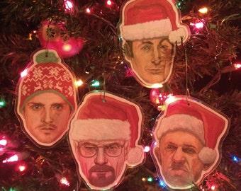 BREAKING BAD Christmas Ornaments 4 Pack SET!