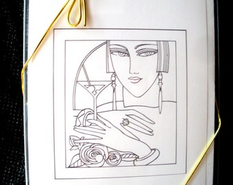 Art Deco Greeting Card Set of 8 Blank Cards