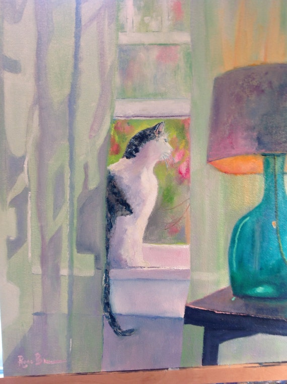 Cat Painting, Large Oil Painting, Gifts for Her, Gifts for Cat Lovers, Cat In The Window, Emerald Green Color