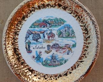 "Idaho State Souvenir Plate  ~  Mid Century Collectors Plate  ~  22K Gold 10"" Plate ~  Idaho Souvenir Plate"