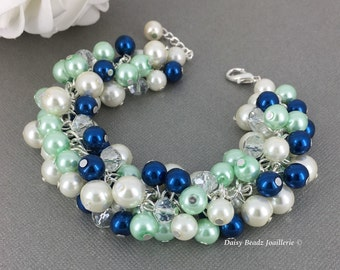 Navy Mint Green and Ivory Bracelet Bridesmaid Gift Spring Wedding Mint Navy Bracelet Bridesmaid Bracelet Wedding Prom maid of Honor