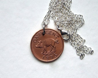 Wild boar necklace, 1970 coin, Mens necklace, For her, Pig lover, Boar necklace, Pig necklace, Bermuda gift, Pig keychain, 48th birthday
