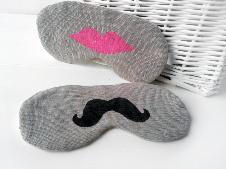 Mustache And Lips Sleep Mask Wedding Night Gift Set Of 2 For