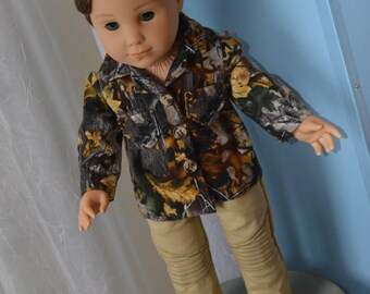 18 Inch Boy Doll Clothes Two Piece Outfit Khaki Pants and Flannel Camouflage Shirt by SEWSWEETDAISY