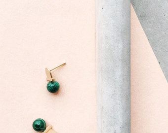 Malachite Stoned Arch Studs / 14k gold vermeil / architectural gemstone jewelry / green