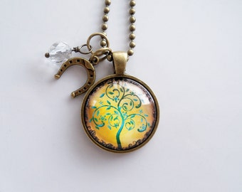 Tree of Life Necklace - Teal and Yellow Tree Pendant -  You Choose Bead and Charm - Custom Jewelry - Photo Jewelry - Family Tree - Nature