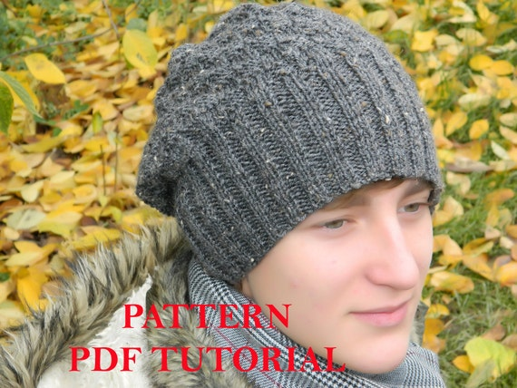 Slouchy men beanie PATTERN man knit hat PDF Tutorial Knitting ...