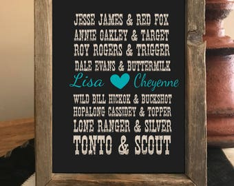 Personalized Western Gift, Western Decor, Wall Decor, Horse Decor, Gift for Cowgirl, Horse Art