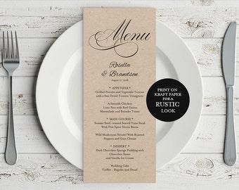 Wedding Menu Template, Rustic Wedding Menu, Menu Printable, Menu Cards, Rustic Wedding, Wedding Dinner Menu, PDF Template, WPC_307SD4A