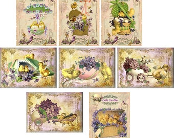 Easter Vintage 8 antique pictures purple small cards with envelopes