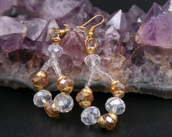 OOAK handmade dangle earrings with faceted pearls drop earrings, dangle earrings, white earrings, pearl earrings