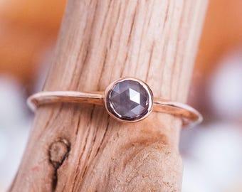 14k Gray Diamond Knife Edge Ring   14k Gold and Rose Cut Diamond