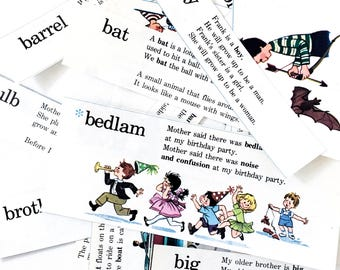 Children's Picture Dictionary Sticker Set/ Scrapbooking / Journal / Oringal Vintage Book Pages / 22 pieces / Set Of vintage Stickers /