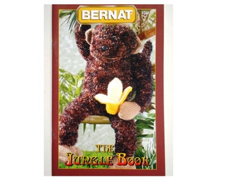 The Jungle Book Bernat Knitting Pattern Booklet 530130 Monkey, Flamingo, Parrot, Boa Constrictor Snake