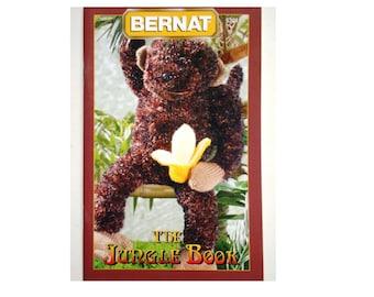 The Jungle Book Bernat Knitting Pattern Booklet 530130 Monkey, Flamingo, Parrot, Boa Constrictor Snake