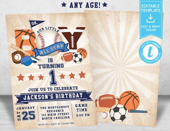 Sports Birthday Invitation, Baseball Football Basketball Birthday Invitation, Boy All Star Birthday Invitation, Editable Template Templett
