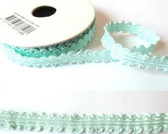 1.8 m x 10mm PASTEL green pleated fancy Ribbon