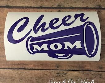 Cheer mom decal, cheerleader decal, proud cheerleader parent, cheer mother, pom pom mom