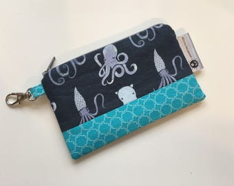 Octopus and Squid Keychain Wallet