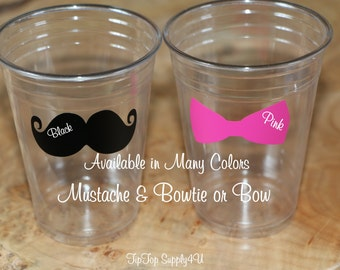 24 Mustache + Bow or Bowtie 10,12 or 16 oz. clear disposable cup. Engagement, his and her, bow, mustache Bash B-65 B-71