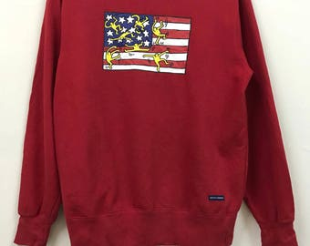 Vintage Keith Haring Red Colour Special Design Sweatshirt USA Flag Keith Haring