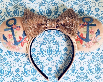 Embroidered Vintage Anchor Mouse Ears Headband