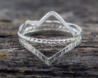 Three Sterling Silver Mountain Landscape Rings