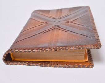 Vintage Brown Leather Book Cover, national, folk pattern