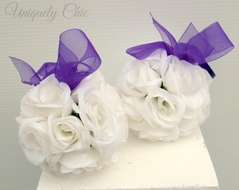 Kissing ball, Purple and white wedding pomander, Wedding decoration, Silk wedding flowers, Wedding decor, Pomander centerpeice