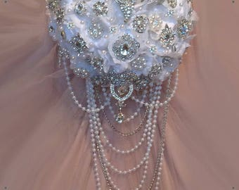 Brooch Bouquet, Cascading Brooch Bouquet, White or Ivory, Deposit 150.00, Full Price 375 & Up, Rush Orders Welcome!