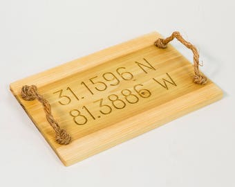 Engraved Latitude Longitude Poplar Wooden Tray with Rope Handles, All Lat and Lo available