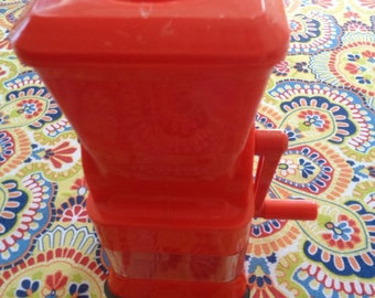 "Vintage Moplen Per Alimenti8 3/4"" tall Red Plastic ACEA Hand crank Cheese grater from Italy"