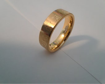Mokume Gane pattern, gold plated, silver ring