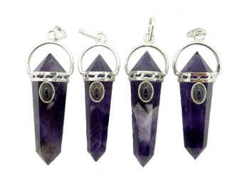 Amethyst Double Terminated Pendant with Chakra Gemstone Bead-- Amethyst Point Pendant with Silver Cap and Bail (S94B2-07)