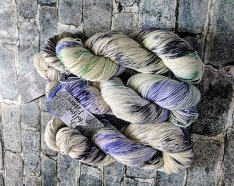 Yarn, Hand dyed yarn, Purple Yarn, Speckled Yarn Superwash Merino/Nylon,Sock Yarn, Knitting Yarn, Crochet Yarn - Blacklight Dinner Party