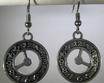 Clock Double Sided Silver Dangle Earrings