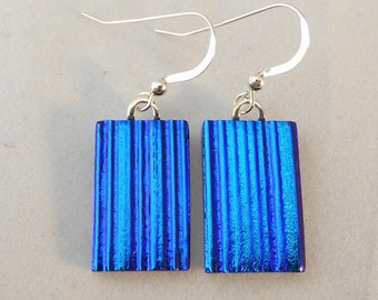 Blue Dichroic Glass Dangle Earrings, Fused Glass, Fused Glass Earrings, Glass Earrings, Dichroic Earrings, Dangle Earrings, Dichroic
