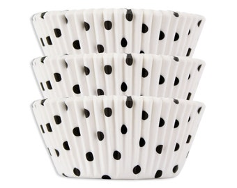 White with Black Polka Dot Baking Cups - 50 cupcake liners