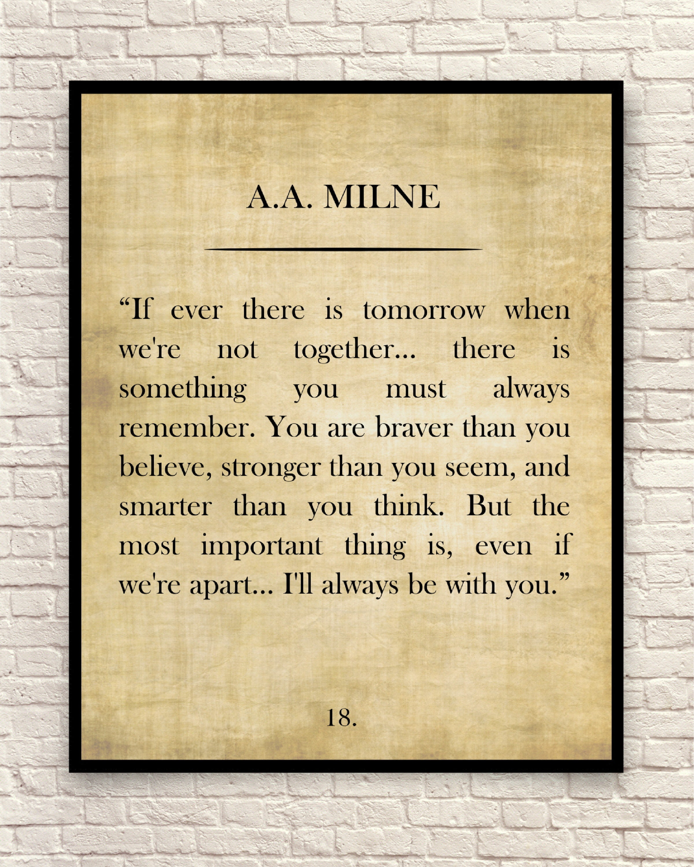 A. A. Milne Quote Winnie the Pooh Quote Custom Art Print
