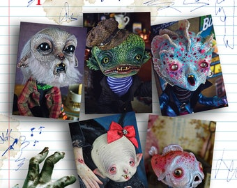 The gang -Set of 5  Halloween Postcards- young monsters werewolf art doll wolfman vampire nosferatu freaks spooky horror weird sea creatures
