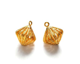 2 Gold Plated Drop Charms - 21-17-5