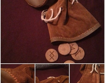 On request Hand made runic - tarrot leather pouches