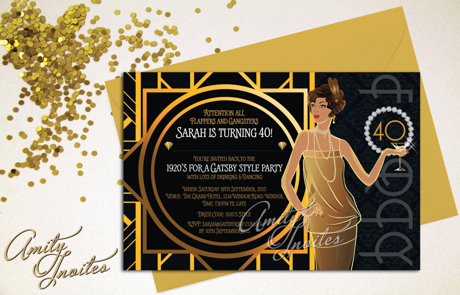 printable invitation birthday great gatsby gold gangster and. Black Bedroom Furniture Sets. Home Design Ideas