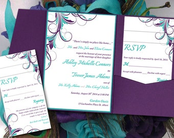 "Peacock Pocketfold Wedding Invitation Template Set - Teal Eggplant Purple ""Ashley"" Flourish 5 x 7 Pocket Fold Invitation RSVP, 2 Insert"