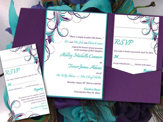 Peacock pocketfold wedding invitation template set teal eggplant purple ashley flourish 5 x 7 pocket fold invitation rsvp 2 insert