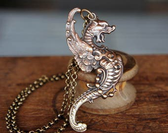 Rearing Dragon Medieval Style Pendant Necklace French Brass Stamping