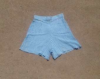 Blue gingham high waisted tap shorts